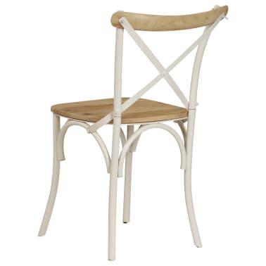 vidaXL Cross Chairs 2 pcs White Solid Mango Wood[6/15]