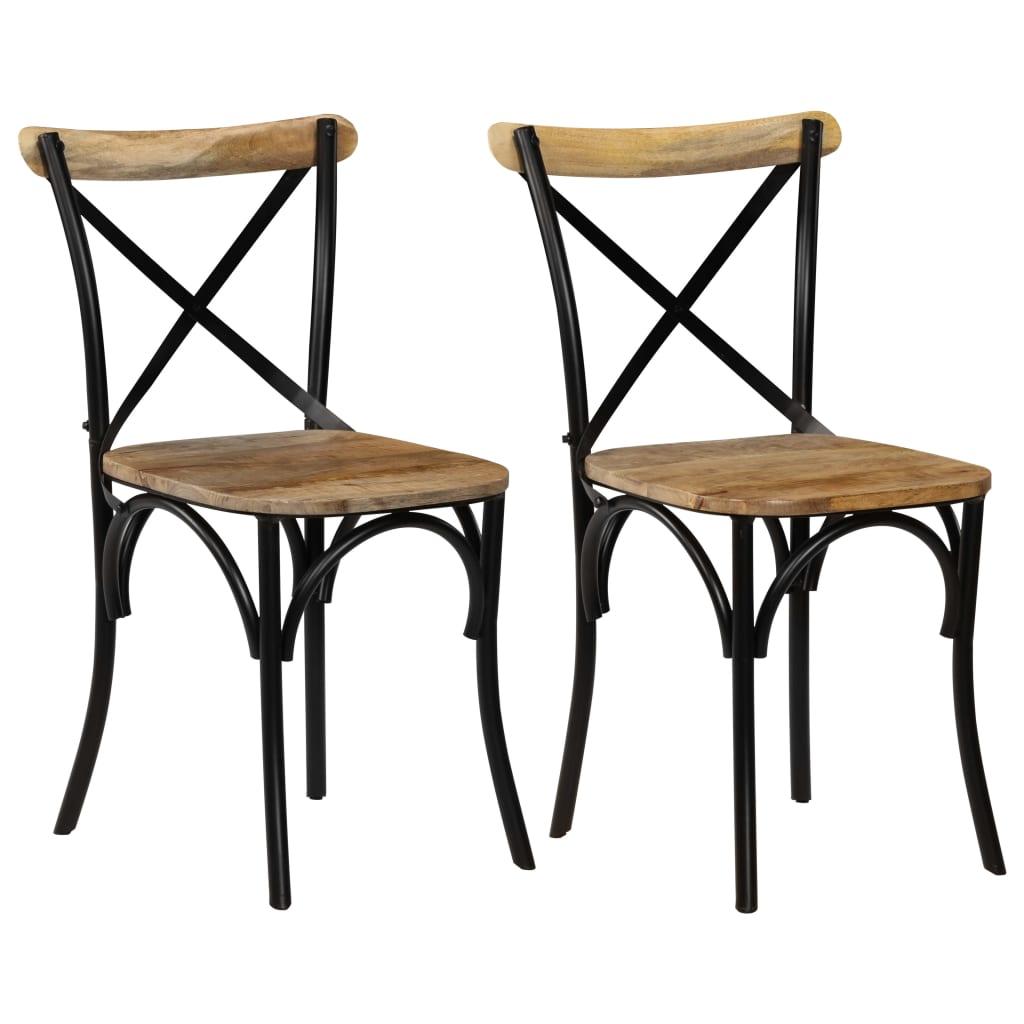 vidaXL Καρέκλες με Χιαστί Πλάτη 2 τεμ. Μαύρες από Μασίφ Ξύλο Μάνγκο