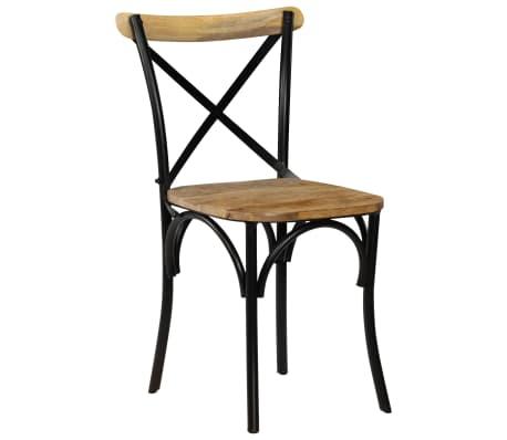 vidaXL Cross Chairs 2 pcs Black Solid Mango Wood[2/15]
