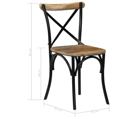 vidaXL Cross Chairs 2 pcs Black Solid Mango Wood[11/15]