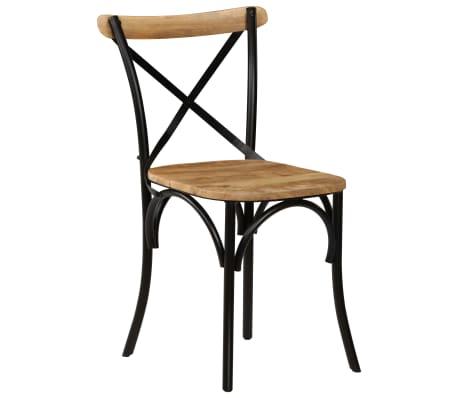 vidaXL Cross Chairs 2 pcs Black Solid Mango Wood[12/15]