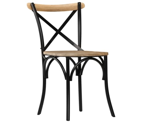 vidaXL Cross Chairs 2 pcs Black Solid Mango Wood[3/15]