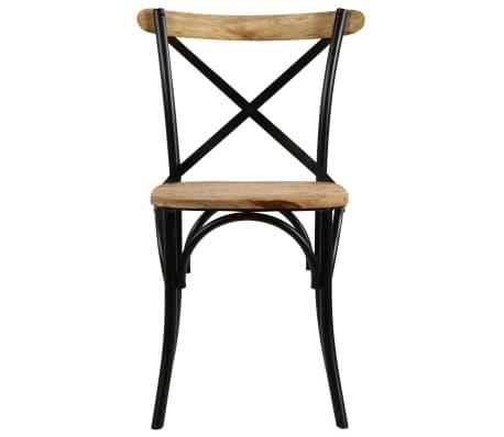 vidaXL Cross Chairs 2 pcs Black Solid Mango Wood[4/15]