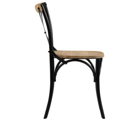 vidaXL Cross Chairs 2 pcs Black Solid Mango Wood[5/15]