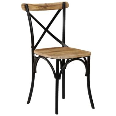 vidaXL Cross Chairs 2 pcs Black Solid Mango Wood[13/15]