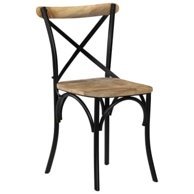 vidaXL Cross Chairs 2 pcs Black Solid Mango Wood[14/15]