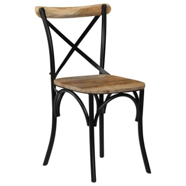 vidaXL Cross Chairs 2 pcs Black Solid Mango Wood[15/15]