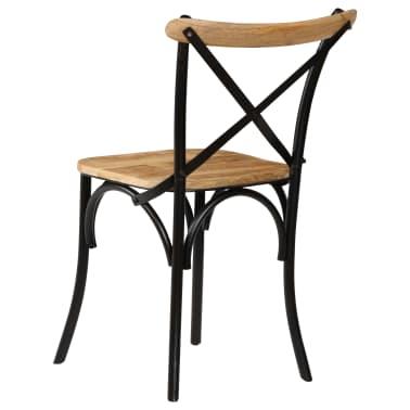vidaXL Cross Chairs 2 pcs Black Solid Mango Wood[6/15]