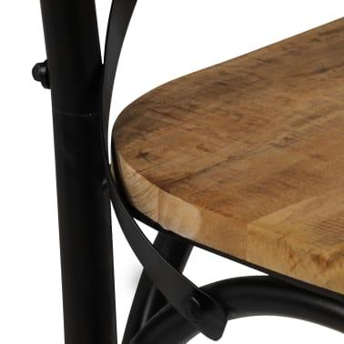 vidaXL Cross Chairs 2 pcs Black Solid Mango Wood[9/15]