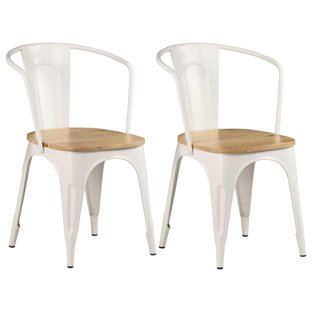 vidaXL Καρέκλες Τραπεζαρίας 2 τεμ. Λευκές 51x52x84 εκ. Ξύλο Μάνγκο