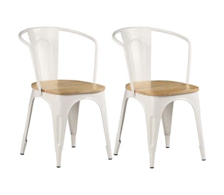 vidaXL Dining Chairs 2 pcs White Solid Mango Wood[1/13]
