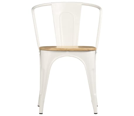 vidaXL Dining Chairs 2 pcs White Solid Mango Wood[2/13]