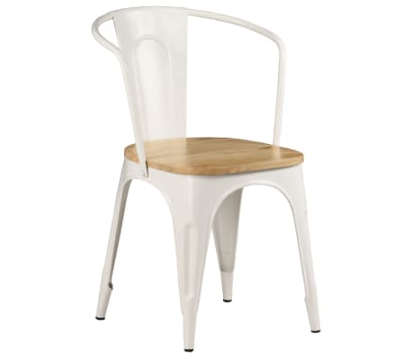 vidaXL Dining Chairs 2 pcs White Solid Mango Wood[12/13]