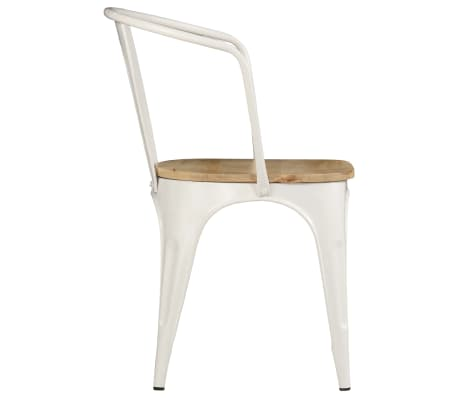 vidaXL Dining Chairs 2 pcs White Solid Mango Wood[5/13]
