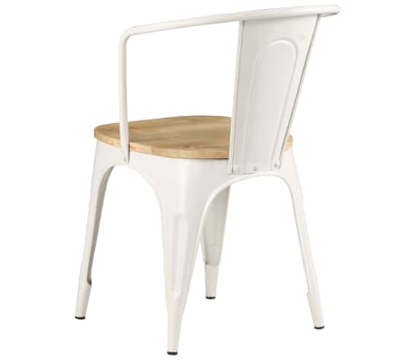 vidaXL Dining Chairs 2 pcs White Solid Mango Wood[6/13]