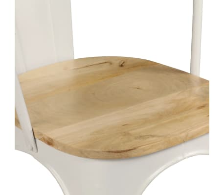 vidaXL Dining Chairs 2 pcs White Solid Mango Wood[8/13]