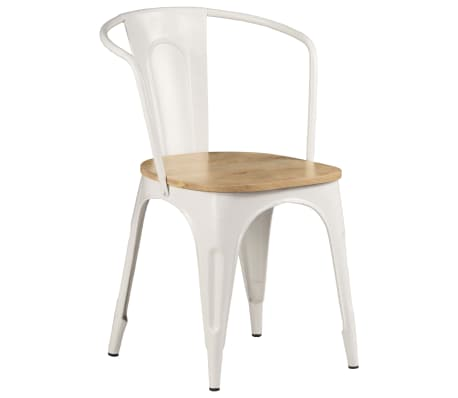 vidaXL Dining Chairs 2 pcs White Solid Mango Wood[10/13]