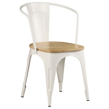 vidaXL Dining Chairs 2 pcs White Solid Mango Wood[3/13]