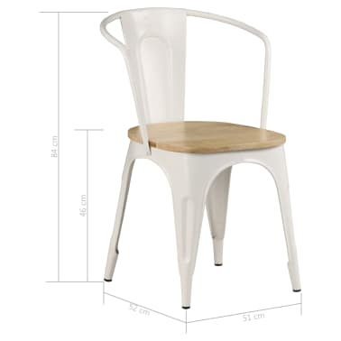vidaXL Dining Chairs 2 pcs White Solid Mango Wood[9/13]