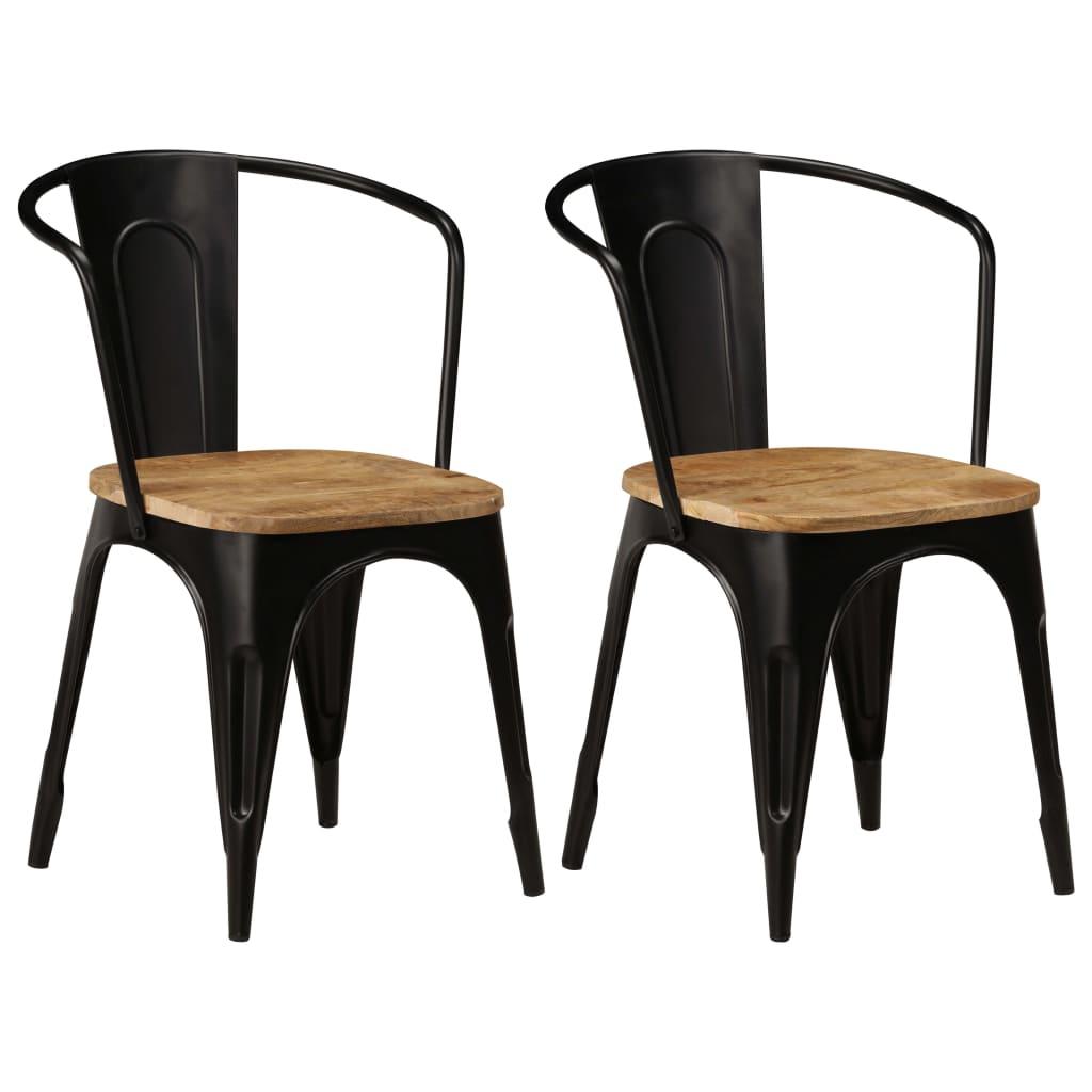 vidaXL Καρέκλες Τραπεζαρίας 2 τεμ. Μαύρες από Μασίφ Ξύλο Μάνγκο