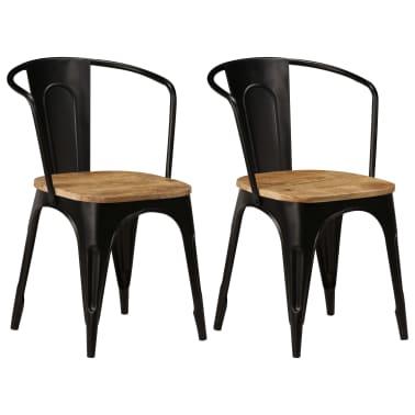 vidaXL Dining Chairs 2 pcs Black Solid Mango Wood[1/13]
