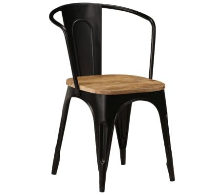 vidaXL Dining Chairs 2 pcs Black Solid Mango Wood[13/13]