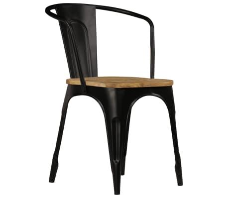 vidaXL Dining Chairs 2 pcs Black Solid Mango Wood[3/13]