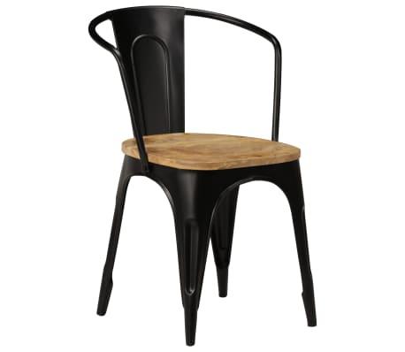 vidaXL Dining Chairs 2 pcs Black Solid Mango Wood[10/13]