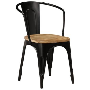 vidaXL Dining Chairs 2 pcs Black Solid Mango Wood[2/13]