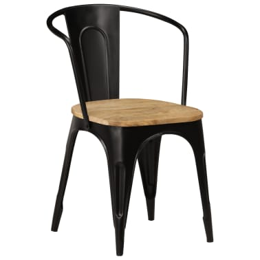 vidaXL Dining Chairs 2 pcs Black Solid Mango Wood[11/13]