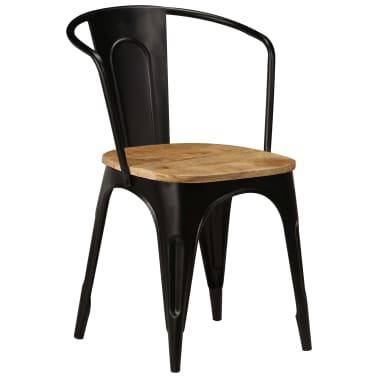 vidaXL Dining Chairs 2 pcs Black Solid Mango Wood[12/13]