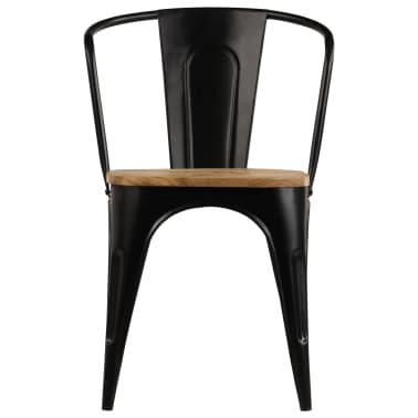 vidaXL Dining Chairs 2 pcs Black Solid Mango Wood[4/13]
