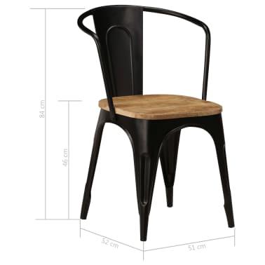 vidaXL Dining Chairs 2 pcs Black Solid Mango Wood[9/13]
