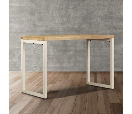 "vidaXL Dining Table 45.3""x21.7""x30"" Solid Mango Wood and Steel[5/13]"