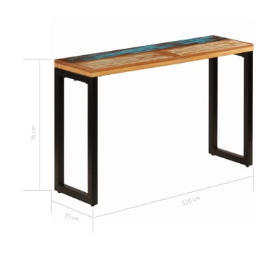 "vidaXL Console Table 47.2""x13.8""x29.9"" Solid Reclaimed Wood and Steel[8/11]"