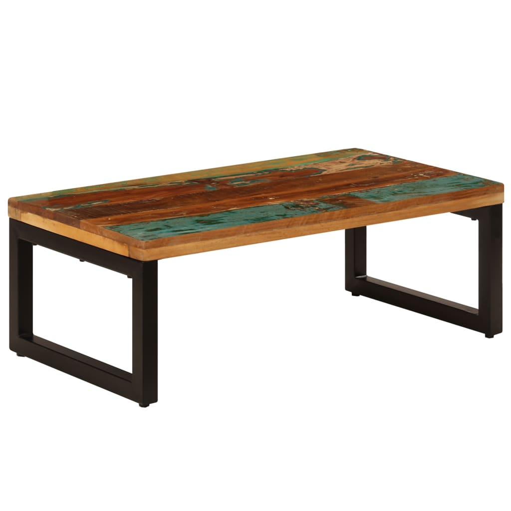 vidaXL Stolik kawowy, 100x50x35 cm, lite drewno z odzysku i stal