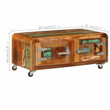 vidaXL Kavos staliukas, 85x55x40cm, perdirbtos medienos masyvas[9/14]
