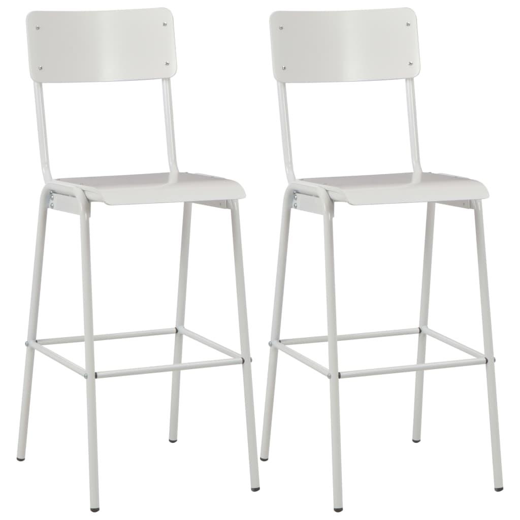 vidaXL Krzesła barowe, 2 szt., białe, sklejka i stal