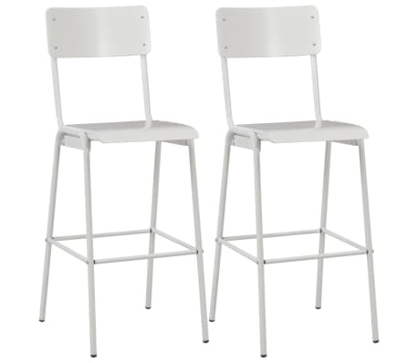 vidaXL Bar Chairs 2 pcs White Solid Plywood Steel