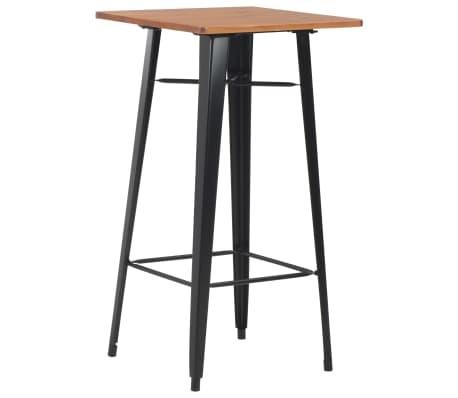 vidaXL Bar Table Black 60x60x108 cm Solid Pine Wood Steel