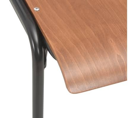 vidaXL Esszimmerstühle 2 Stk. Braun Massives Sperrholz Stahl