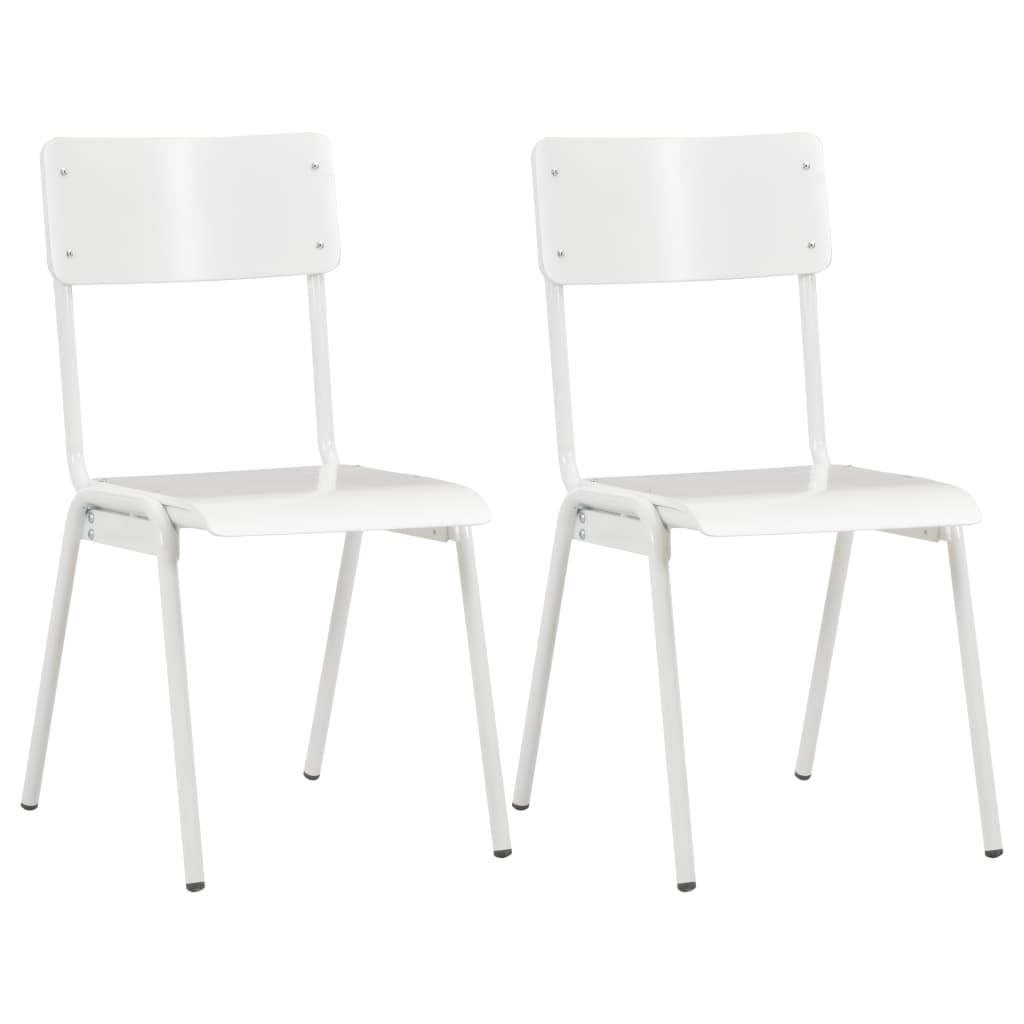 vidaXL spisebordsstole 2 stk. massivt krydsfinér stål hvid