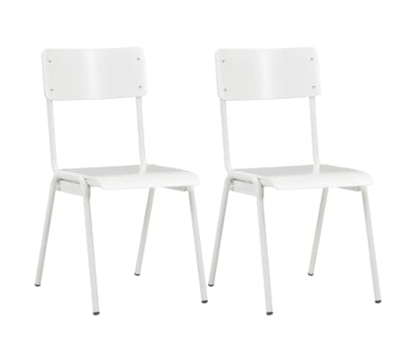 vidaXL Dining Chairs 2 pcs White Solid Plywood Steel