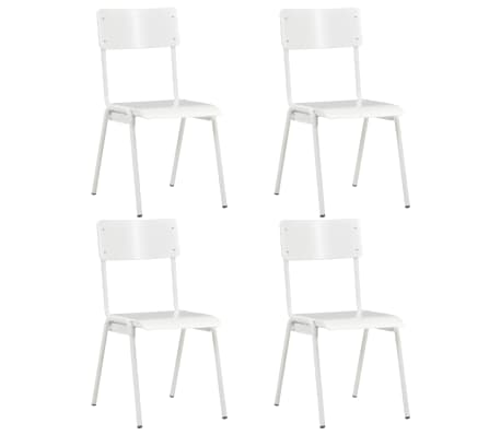 vidaXL Dining Chairs 4 pcs White Solid Plywood Steel
