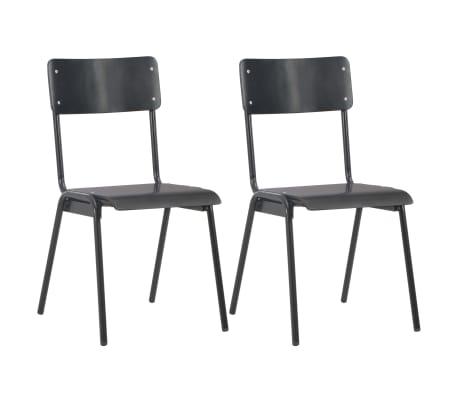 vidaXL Dining Chairs 2 pcs Black Solid Plywood Steel