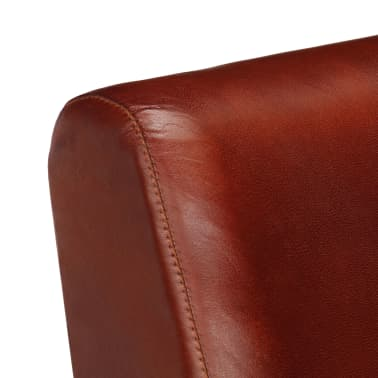 vidaXL Krėslas, rudas, 61x70x74 cm, tikra oda[6/12]