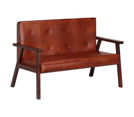 vidaXL Sofá de 2 plazas cuero auténtico marrón