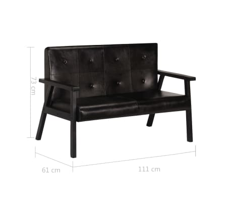 vidaXL Dvivietė sofa, juodos spalvos, tikra oda[8/8]