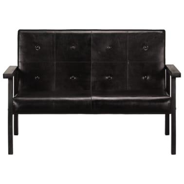 vidaXL Dvivietė sofa, juodos spalvos, tikra oda[2/8]
