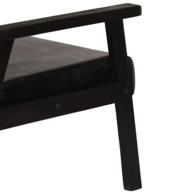vidaXL Dvivietė sofa, juodos spalvos, tikra oda[6/8]